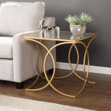 Denise Geometric End Table w/ Mirrored Top - Gold