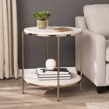 Silas Round Faux Stone End Table