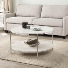 Silas Round Faux Stone Cocktail Table