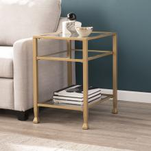 Jaymes Gold Metal and Glass End Table