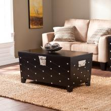 Nailhead Cocktail Table Trunk - Black/Satin Silver