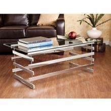 Hoxley Cocktail Table - Chrome w/ Glass