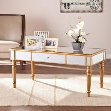 Brandilyn Mirrored Cocktail Table - Champagne Gold