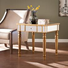 Brandilyn Mirrored End Table - Champagne Gold