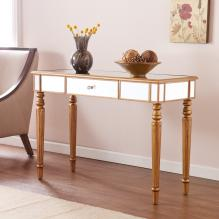 Brandilyn Mirrored Console Table - Champagne Gold