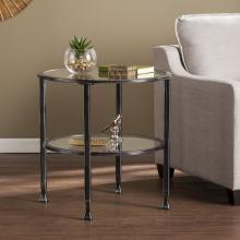 Jaymes Metal/Glass Round End Table - Black