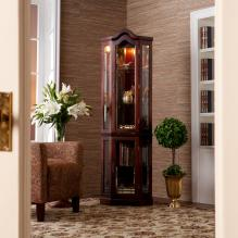 Lighted Corner Curio Cabinet - Mahogany.