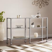 Jaymes Metal/Glass 3-Tier Console Table/Media Stand - Silver