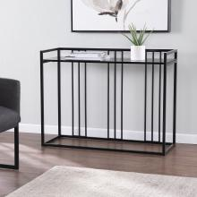 Alcmonton Glass-Top Console Table - Black