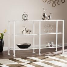 Jaymes Metal/Glass 3-Tier Console Table/Media Stand - White