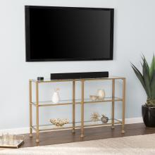 Jaymes Narrow Metal Console Table w/ Glass Shelves - Gold