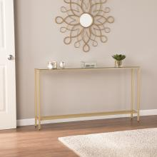 Darrin Narrow Long Console Table w/ Mirrored Top - Gold