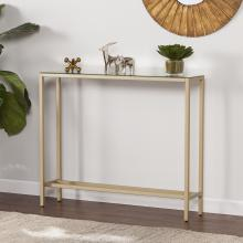 Darrin Narrow Console Table w/ Mirrored Top - Gold
