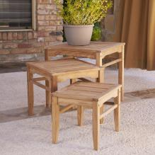 Teak Nesting Table 3Pc Set