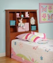 Cherry Twin Tall Slant-Back Bookcase Headboard