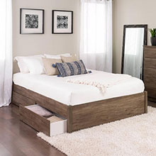 Queen Select 4-Post Platform Bed with 2 Drawers, Drifted Gray