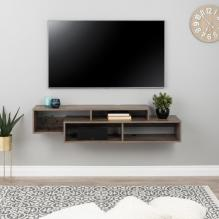 Modern Wall Mounted Media Console and Storage Shelf, Drifted Gray