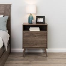 Milo 2-drawer Tall Nightstand with Open Shelf, Drifted Gray