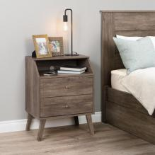 Milo 2 Drawer Night Stand with Angled Top, Drifted Gray