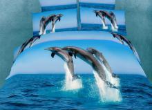 Atlantic Dolphins, Duvet Cover Egyptian Cotton Luxury Bedding