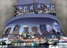 NYC At Night, Queen Size 6 Pieces Duvet Cover Set Bedding
