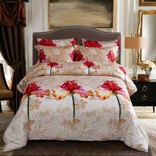 King Size Duvet Cover Set, 6 Piece Luxury Floral Bedding, Dolce Mela Orchid  DM722K