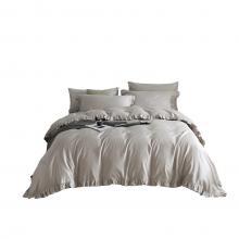 DM809K   King Size 6 piece Duvet Cover Set Ruffled Bedding 100% Cotton