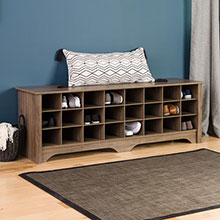 24 pair Shoe Storage Cubby Bench, Drifted Gray