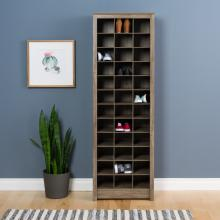 Space-Saving Shoe Storage Cabinet, Drifted Gray