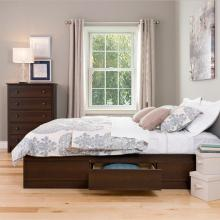 Espresso Queen Mate's Platform Storage Bed with 6 Drawers