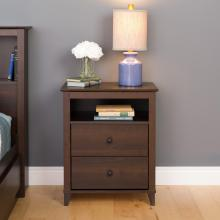 Yaletown 2-Drawer Tall Nightstand, Espresso