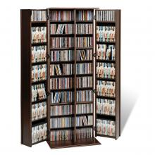 Espresso Grande Locking Media Storage Cabinet with Shaker Doors