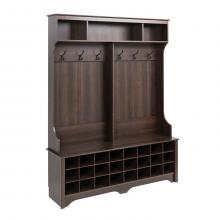 60 inch  Wide Hall Tree with 24 Shoe Cubbies, Espresso