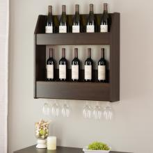 Espresso 2-Tier Floating Wine and Liquor Rack
