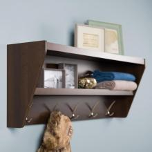 Floating Entryway Shelf & Coat Rack in Espresso