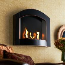 Wall Mount Arch Fireplace - Black