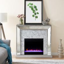 Trandling Mirrored Faux Stone Fireplace with Color Changing Firebox