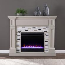 Birkover Color Changing Electric Fireplace w/ Marble Surround