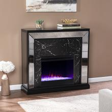 Trandling Mirrored Faux Marble Color Changing Fireplace