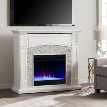 Seneca Color Changing Media Fireplace - White