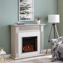 Chessing Penny-Tiled Fireplace