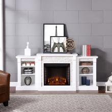 Gallatin Simulated Stone Electric Fireplace w/ Bookcases