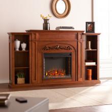 Chantilly Bookcase Electric Fireplace - Autumn Oak