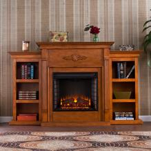 Tennyson Electric Fireplace W/ Bookcases - Glazed Pine