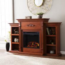 Tennyson Electric Fireplace W/ Bookcases - Classic Mahogany