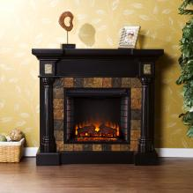 Carrington Faux Slate Convertible Electric Fireplace - Blac