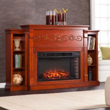 Locksley Bookcase Electric Fireplace - Classic Mahogany