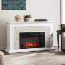Canyon Heights Faux Stacked Stone Electric Fireplace - White