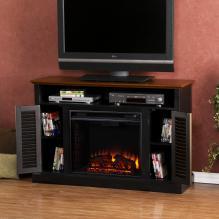 Antebellum Media Electric Fireplace - Black W/ Walnut