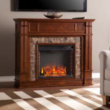Highgate Faux Stone Electric Media Fireplace - Whiskey Maple